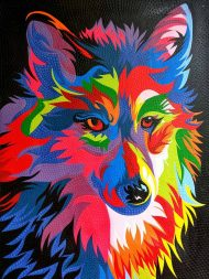 DOT PAINTING WOLF